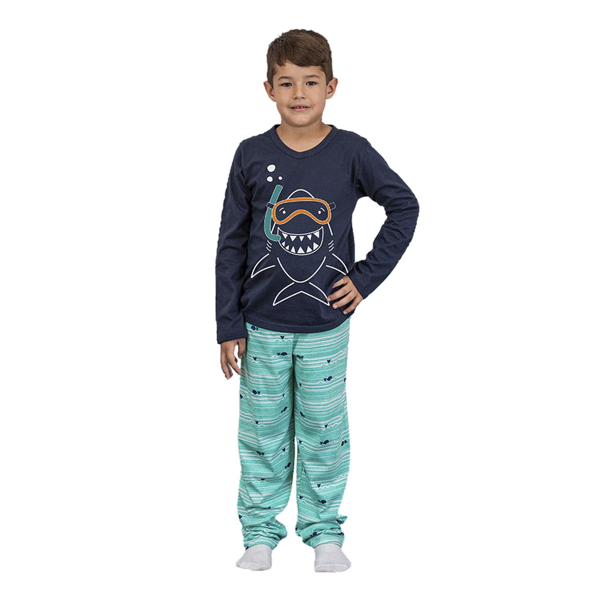 pijama-infantil-manga-longa-tubarao-azul-marinho