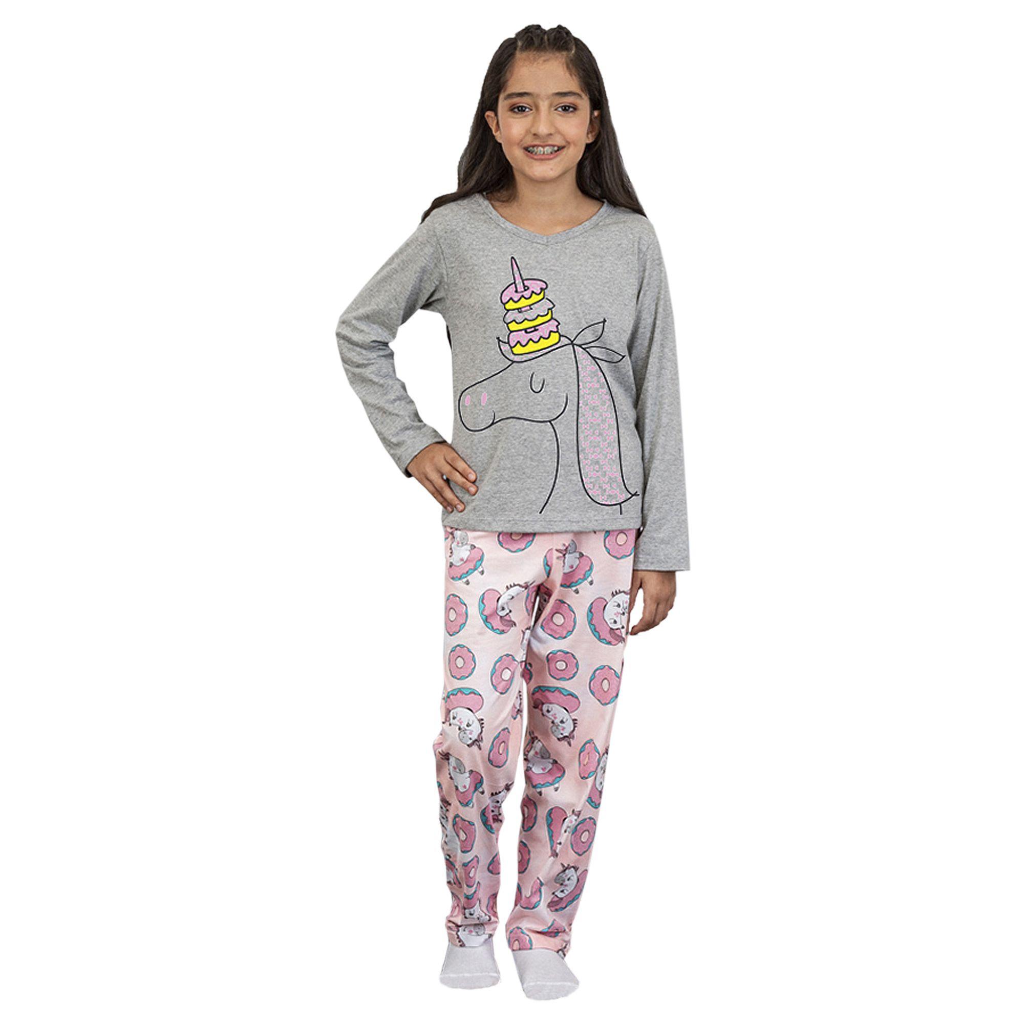 pijama-infantil-manga-longa-unicornio-cinza-rosquinhas-rosas