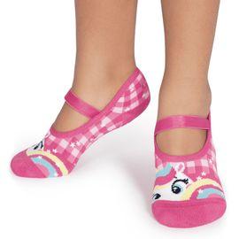 meia-sapatilha-infantil-unicornio-xadrez-rosa-puket