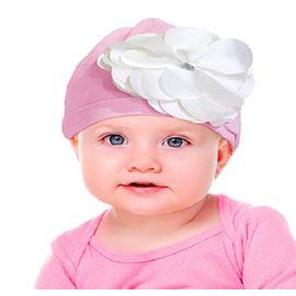 gorro-touca-bebe-rosa-aplique-flor-branca