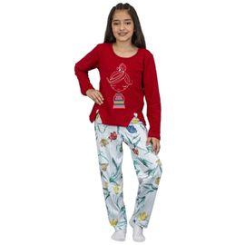 pijama-menina-manga-longa-vermelho-calca-flores