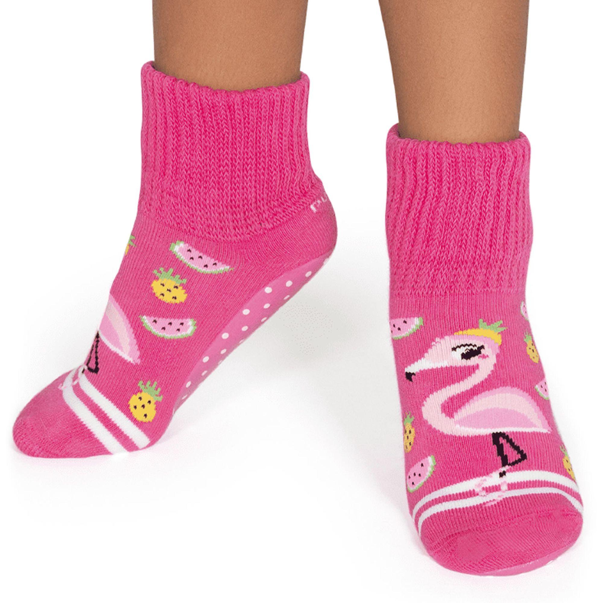 meia-infantil-botinha-pansock-flamingos-pink-puket