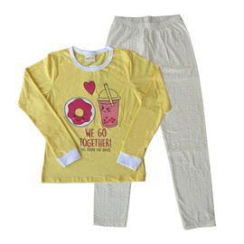 pijama-meninas-manga-longa-rosquinha-amarelo-escuro-calca-bolinhas