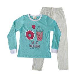 pijama-meninas-manga-longa-rosquinha-verde-turquesa-calca-bolinhas
