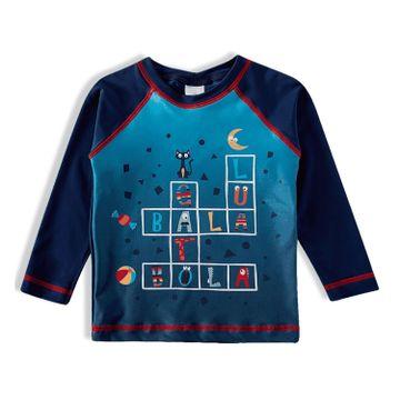camiseta-infantil-protecao-solar-manga-longa-azul-letras-divertidas-frente