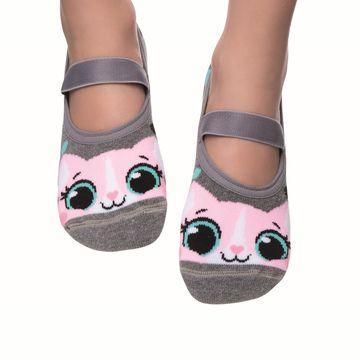 meia-infantil-sapatilha-cinza-raposa-rosa-puket