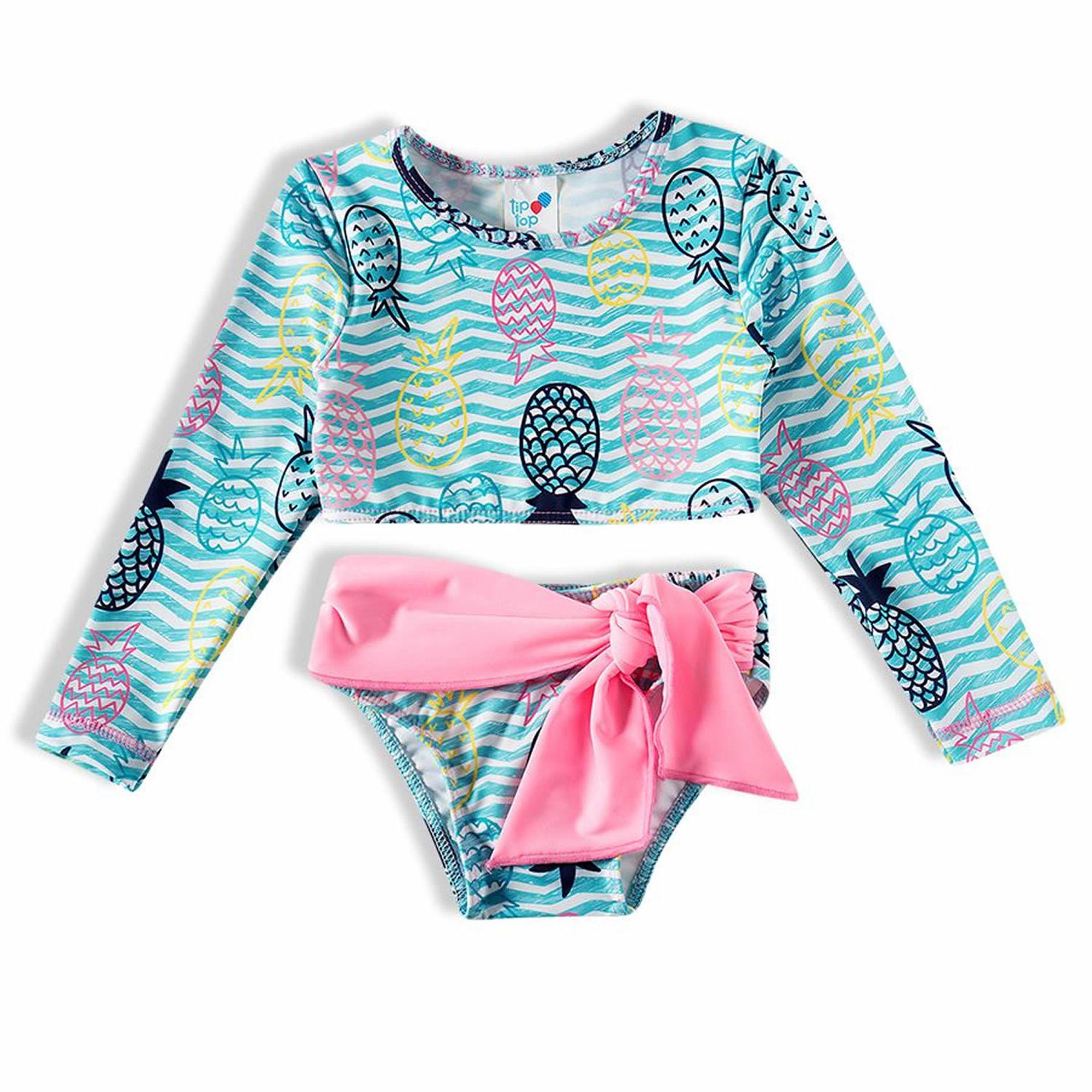 biquini-infantil-cropped-listras-turquesa-abacaxi-rosa-tip-top