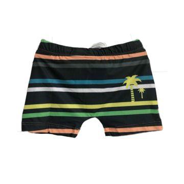 sunga-short-infantil-cinza-listras-coloridas-tip-top-frente