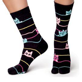 meia-chinelinho-preta-gatinhos-coloridos-puket